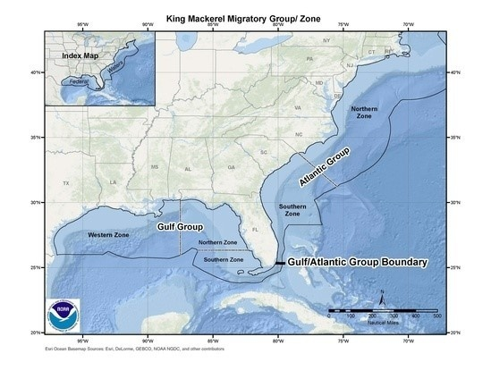 Gulf of Mexico King Mackerel Migratory Zones Map