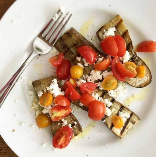 ennifer Chandler shows off her farmers market finds: Grilled eggplant with heirloom cherry tomatoes & local goat cheese Image | @cookwjennifer