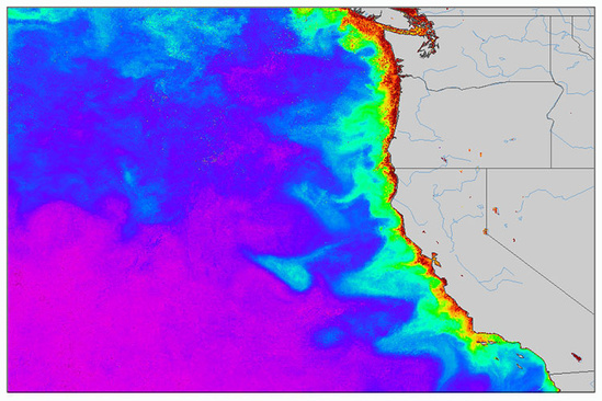 Satellite map of chlorophyll a concentration off the US West Coast for Sept. 2017