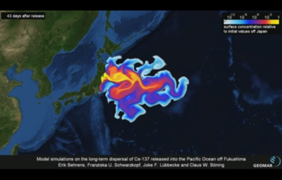 A model simulation (using dye) of the long-term dispersal of Cs-137 released into the Pacific Ocean off Fukushima following the Daiichi nuclear accident, 43 days after.