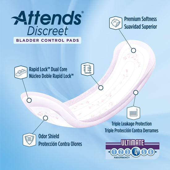 Attends Discreet Women's Ultimate Pads