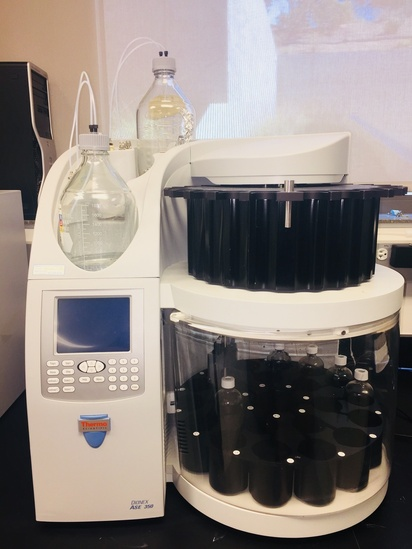 Image of Dionex accelerated solvent extractor used to extract lipids from samples for stable isotope analysis. Photo: NOAA Fisheries