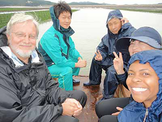 Group of scientists on a pier in a marsh on a wet day