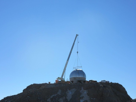 The Ash Dome was safely lifted and installed on the Auxiliary Telescope this week.