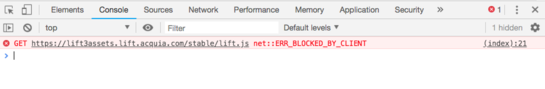 The blocked by client error message in the developer tools console.