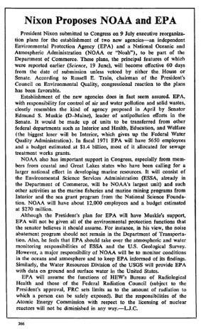 """Article with headline """"Nixon Proposes NOAA and EPA"""""""