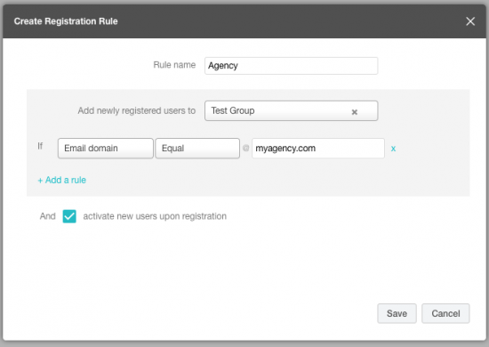 Registration rules creation