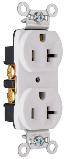 Construction Spec Grade Receptacles, Back & Side Wire, 20A, 125V, White