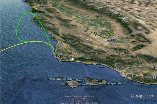 Map showing trajectories across CA