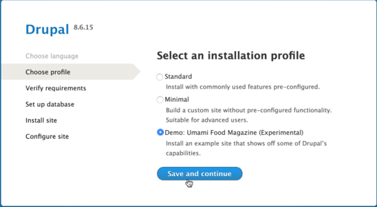 Select the Umami demo profile during installation.