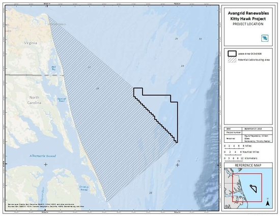 Project Location Map from S end of Chespaeake offshore through Albermarle Sound