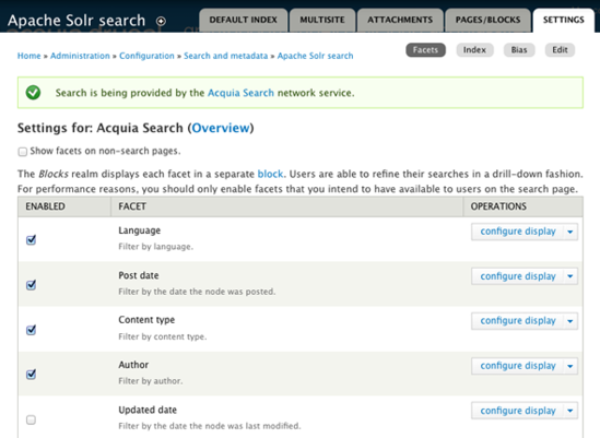 Configuring search facets — Acquia Product Documentation