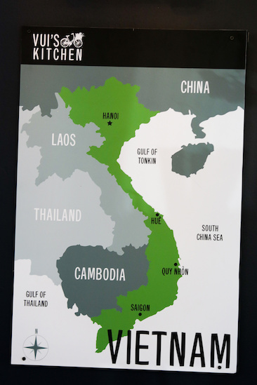 A map of Vietnam at Vui's Kitchen