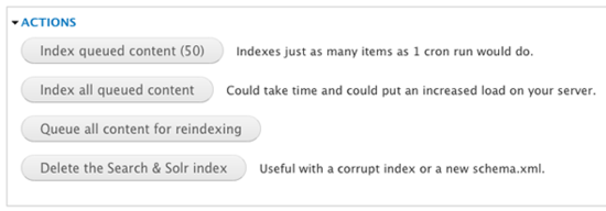 Search index actions