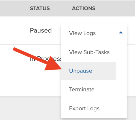 The Actions select box with options (including Unpause) displayed