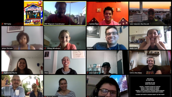 computer screen shows some of the stuidtents and staff gathered for an online social event