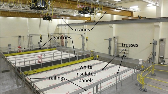 Photo of test tank with labels identifying the railings, white insulated panels, trusses, cranes, and gantries.