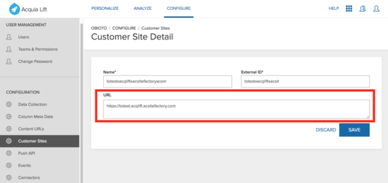 Ensure the URL field includes the Customer site details