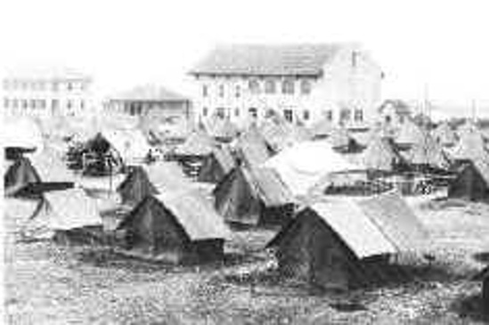 Tents in parade ground.