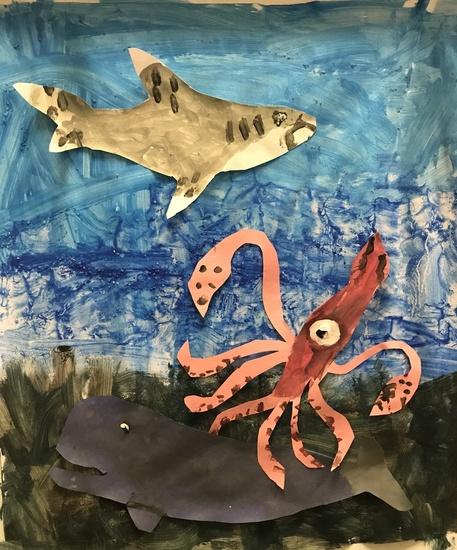 HM K-2 2-D_ Michael G., grade 1, NY, _Mysteries of the Sea - Oceanic Whitetip Shark, Giant Squid, Sperm Whale_.jpg