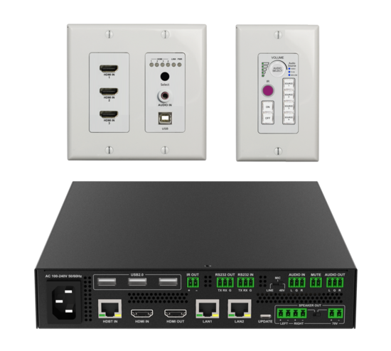 Advanced Room Kit for Classroom / Training Room / Conference Room with 4x1 Switching, HDMI, & USB Extension, Audio Amp, Display Control, & Centralized Monitoring / Control Software