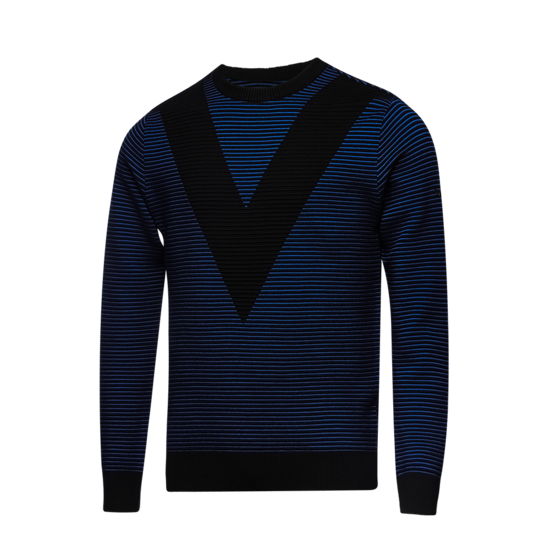 V 패턴 남성 라운드 스웨터