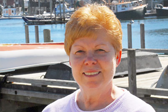 Beth Phelan on the dock at Woods Hole in 2017