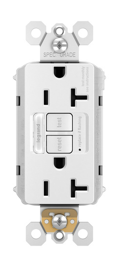 radiant® 20A Tamper-Resistant Self-Test GFCI Outlet with Night Light