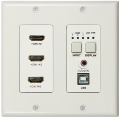 DigitaLinx Auto-Switching Wallplate with 3 HDMI Inputs, USB2.0, & Audio Extension over HDBaseT