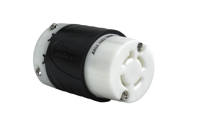 20 Amp NEMA Connector L1420 - Black Back, White Front Body