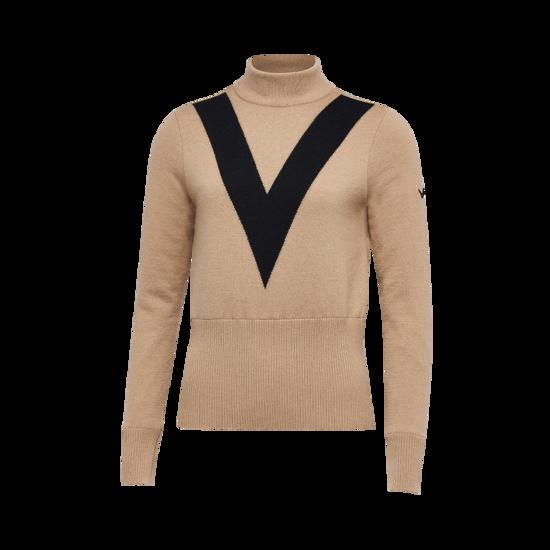 V라인 포인트 하이넥 여성 스웨터