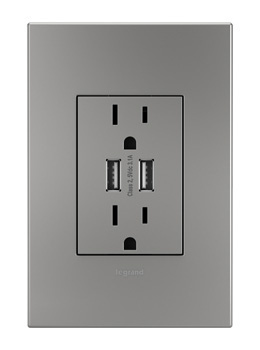 adorne® Dual-USB Outlet with Magnesium Wall Plate