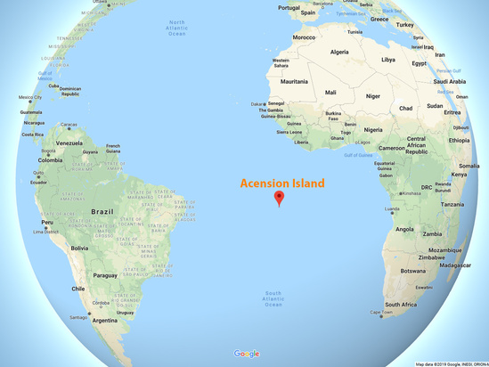 Global view of the Atlantic Ocean, boarded by South America and Afica, showing the location of Acession Island in middle of South Atlantic Ocean.