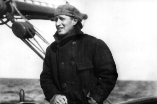 Bigelow at the wheel of the Grampus