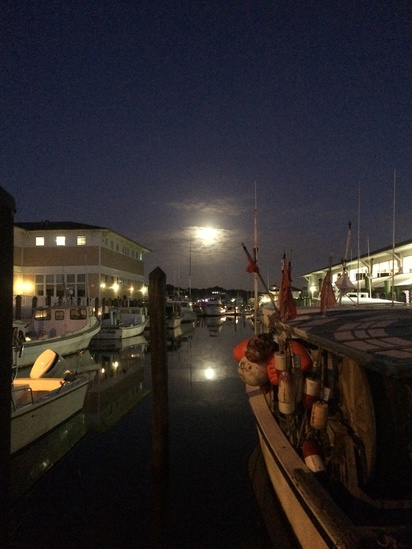 Full moon over Virginia fishing port.