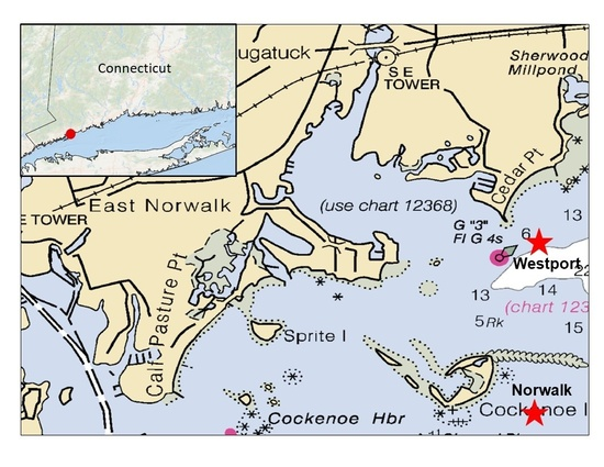 Maps shows the 2 Norwalk and Westport, Connecticut, sites for the GoPro Project.