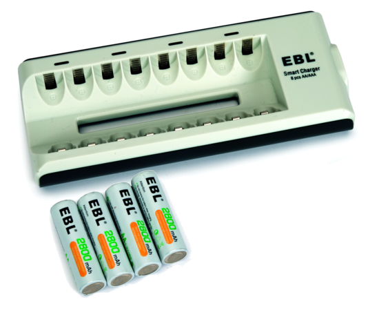 Battery Charger and 8 AA Batteries