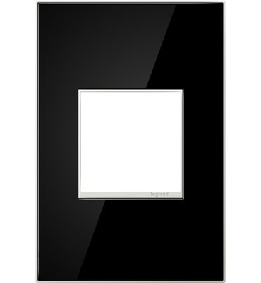 adorne® Mirror Black One-Gang Screwless Wall Plate
