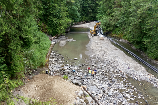 Aerial view of restoration on the Pilchuck River