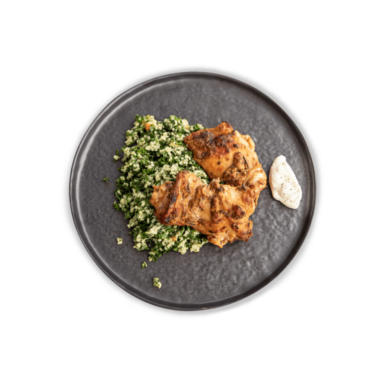 Harissa Chicken with Kale & Bulgur Wheat Salad