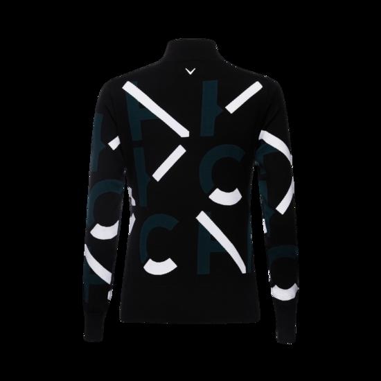 로고 패턴 라운드 여성 스웨터