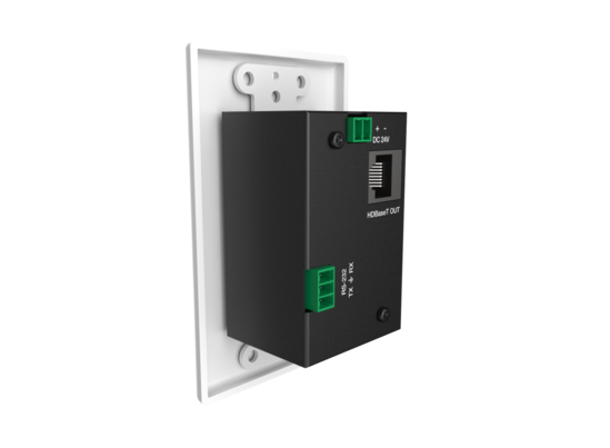 2 Input wall plate with 1 HDMI, 1 USB-C, & 1 pass-through analog audio over HDBaseT
