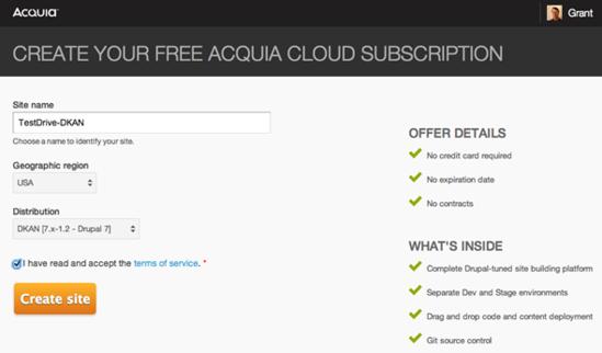 Create an Acquia Cloud Free subscription