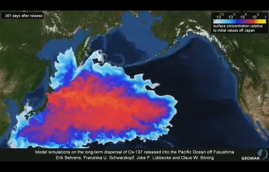 A model simulation (using dye) of the long-term dispersal of Cs-137 released into the Pacific Ocean off Fukushima following the Daiichi nuclear accident, 367 days after.