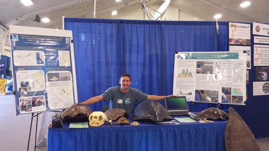 Marine Turtle Ecology & Assessment Program outreach efforts at San Diego's High Tech Fair.  We regularly attend events such as this when invited by event organizers. Photo: NOAA Fisheries.