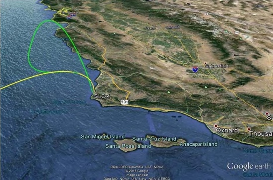 Example trajectory for Falcon 9 first stage return path (green line) to SLC4