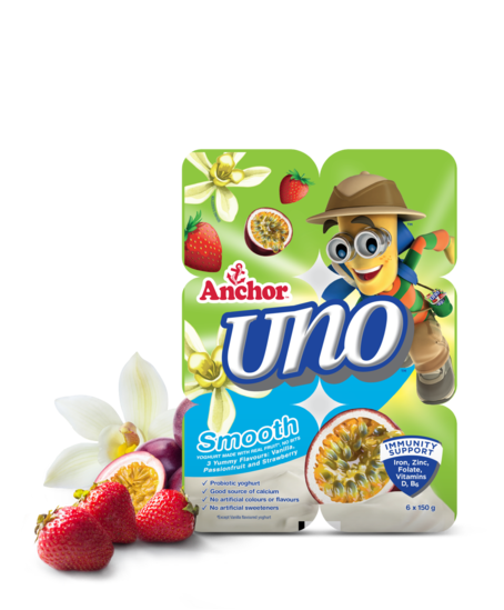 Anchor Uno Vanilla Strawberry Passionfruit Yoghurt 6 x 150g pack
