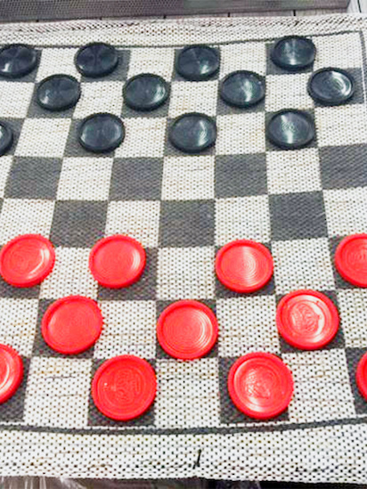 Oversized checker board game, $18.95, at Seibels