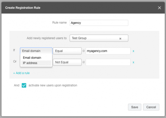 Create registration rules