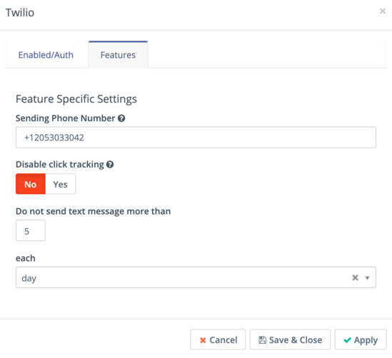 Campaign Studio Twilio features page